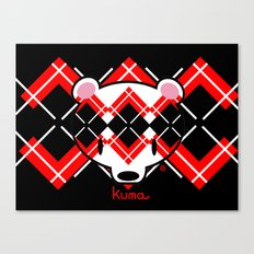 Aaargyle Kuma-chan Red & Blk Canvas Print