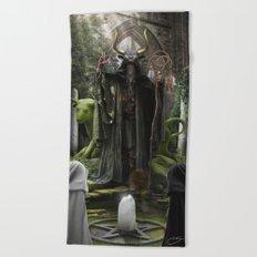 V. The Hierophant Tarot Card Illustration (Color) Beach Towel