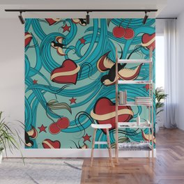 Cherry, Hearts, bird and stars on Rockabilly Tattoos Collection - Vintage blue Wall Mural