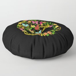 Scull Flower Floor Pillow