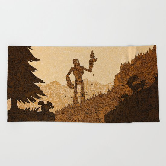 nes no empty spaces giant robot forest  tree Beach Towel