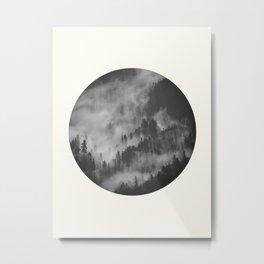 Mid Century Modern Round Circle Photo Graphic Design Foggy Black & White Pine Forest Metal Print
