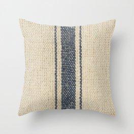 Vintage French Farmhouse Grain Sack Throw Pillow
