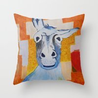 donkey Throw Pillows featuring DONKEY by Leonard Lesic