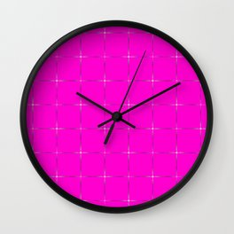 Glowing transparent stars on a pink  black background. Wall Clock