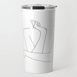 Minimal line drawing of woman's folded arms - Anna Travel Mug