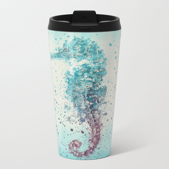 Seahorse marine life watercolor art Metal Travel Mug