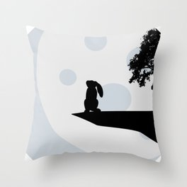 Bunny and Moon Silhouette Throw Pillow