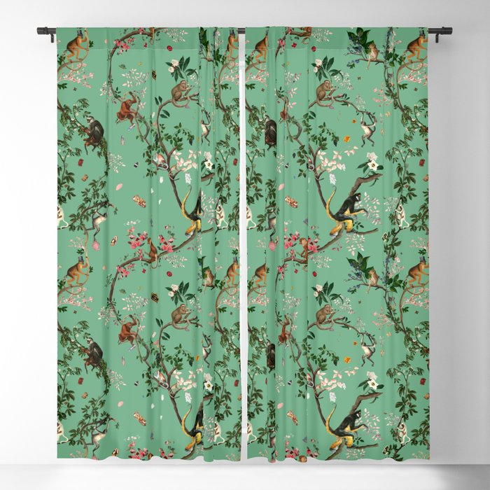 Monkey World Green Blackout Curtain