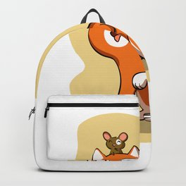 Orange cat and the mouse - cat cartoon Backpack