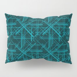 Intersecting light lead lines with a blue diagonal on a dark background. Pillow Sham