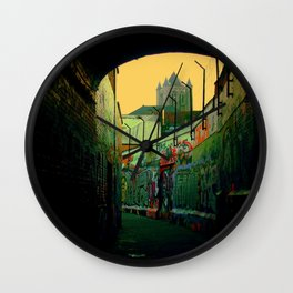 Ghent Graffiti Alley Belgium. Green and Brick Street Photography Wall Clock
