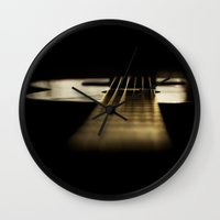 guitar Wall Clocks featuring guitar by Ingrid Beddoes