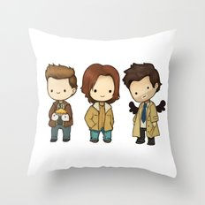 Chibi Dean Sam Castiel Supernatural Throw Pillow