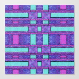 Painted cyan and magenta parallel bars Canvas Print