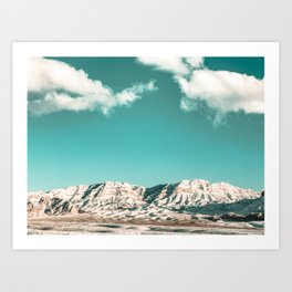 Vintage Desert Snowcaps // Sandy Mojave Covered in Snow at Red Rock Canyon National Park Nature Art Print