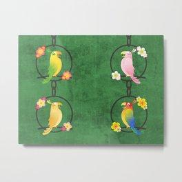 Tiki Birds - Green Pattern Metal Print