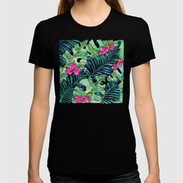 Lush Tropical Fronds & Hibiscus T-shirt