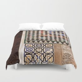 Details in The Alhambra Palace. Gold courtyard Duvet Cover