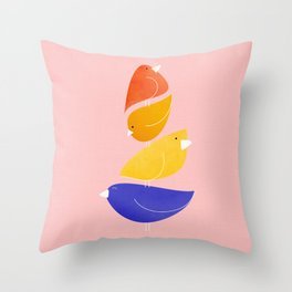 Bird Stack Throw Pillow