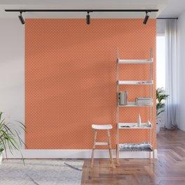 Living Coral Color Polkadots Wall Mural