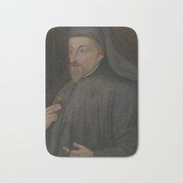 Vintage Geoffrey Chaucer Portrait Painting Bath Mat