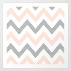 PEACH & GRAY CHEVRON Art Print