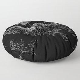 Hong Kong Black Map Floor Pillow