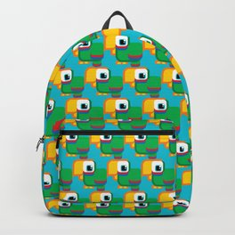 Green, blue and red parrot - Pretty little birdies Backpack