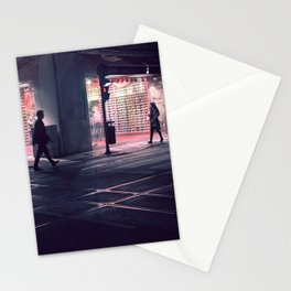 Meeting point - Lisbon street shot in a late winter night Stationery Cards