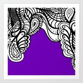 Purple B&W Doodle Art Print