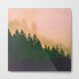 Cascadia Green Trees and Sunset Metal Print