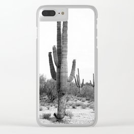 Cactus, Cacti, Black and White Clear iPhone Case