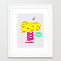 cheese Framed Art Prints featuring Cheese by Wesley Fry