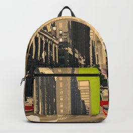Downtown Chicago photography digitally reimagined - modern Chicago skyline in pop art Backpack