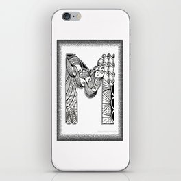 Zentangle M Monogram Alphabet Initials iPhone Skin
