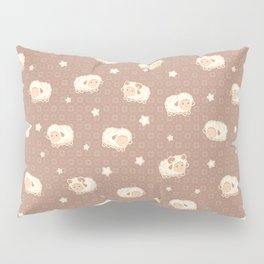 Cute Little Sheep on Brown Pillow Sham