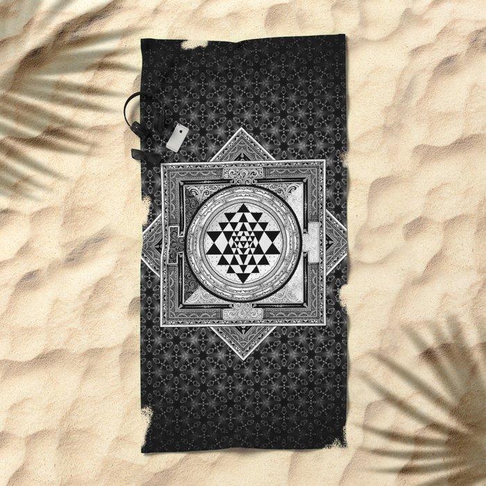 Sri Yantra Black & White Sacred Geometry Mandala Beach Towel