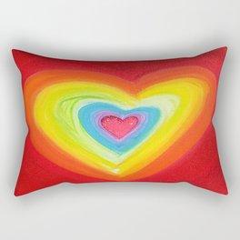 Rainbow Heart Love Rectangular Pillow