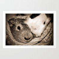 guinea pig Art Prints featuring Guinea Pig Love by Sara H.