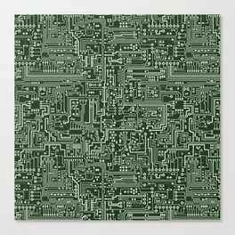 Circuit Board // Green & Silver Canvas Print