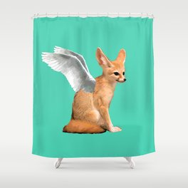 Winged Fennec Fox Shower Curtain
