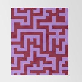 Lavender Violet and Burgundy Red Labyrinth Throw Blanket