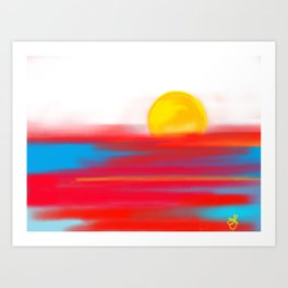 Sketchy Sun and Sea. Sunset and Sunrise Sketch Art Print