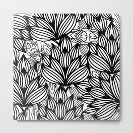 Modern hand drawn black white watercolor floral Metal Print