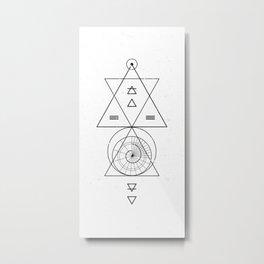 Espiral Triangle White Metal Print
