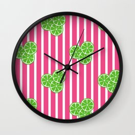 Lime Slices on Hot Pink and White Stripes Wall Clock