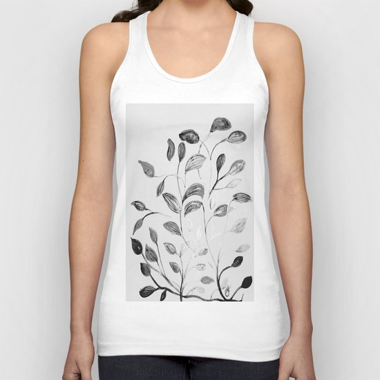 Red and Green Leaves! Romantic Silver Grey! Unisex Tank Top