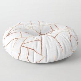 White Stone & Copper Lines Floor Pillow