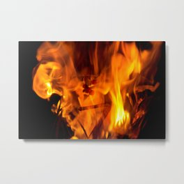 Red hot flames with burning cherries Metal Print